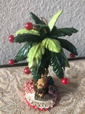 "Nanette Hilton Palm Tree Tropical Christmas Ornament 4"" X 2"" Resin Mint Palm Resin Ornament"