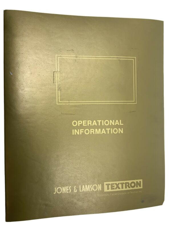 Jones & Lamson Operational Information Manual