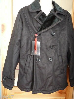 Distressed Faux Leather (Fletcher & Lowe Black Distressed Faux Leather Mens Coat UK L)