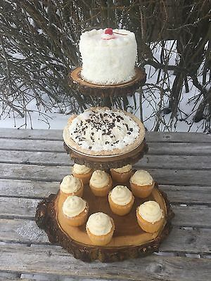 Elm Wood Rustic Cake Cupcake Stand Wedding party shower 3 Tier Step wild things