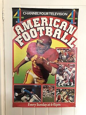 Vintage UK Channel Four Television American Football Advertising Poster #3