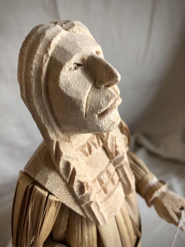 Native American Man Figure Handmade And Hand Carved- Made Of Cane