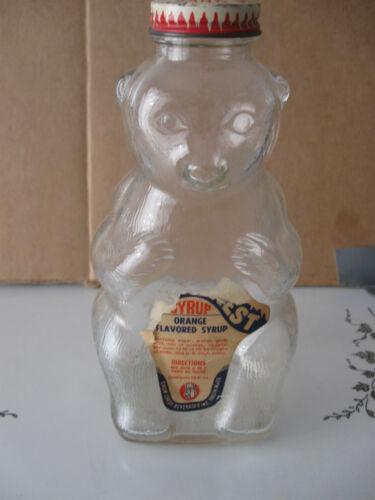 """Vintage Snow Crest Glass BEAR Bottle Bank Beverage Salem MASS 7.5"""""""