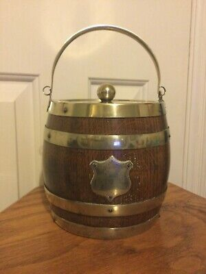 Vintage English Oak Barrel, Ice Bucket / Biscuit Container with Porcelain Liner