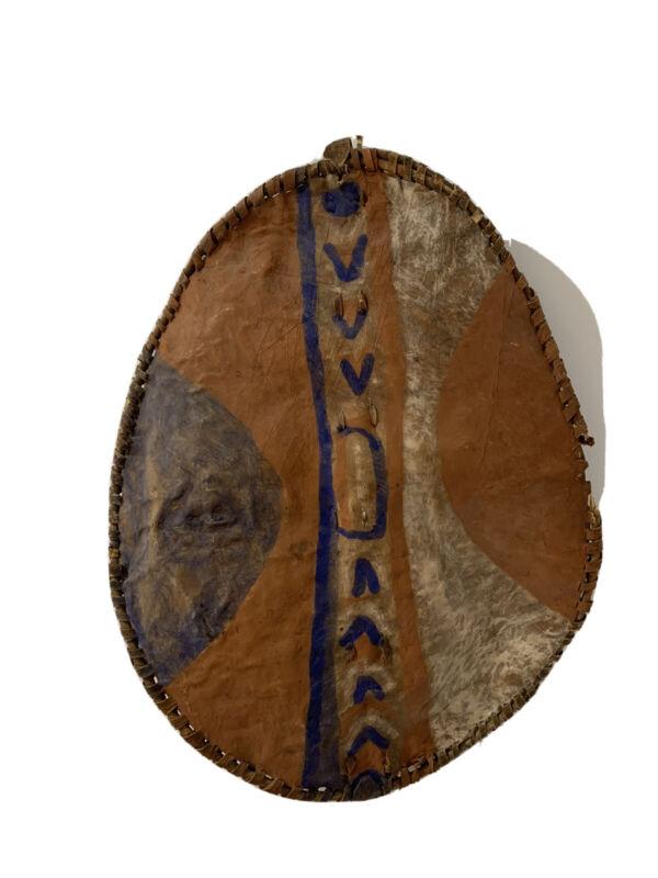 Antique African Maasai Tribal Shield. Hide & Hair, Tribe Paint 29x20