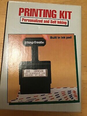 Stamp O Matic Personalized And Self Inking Printing Kit With Built In Ink Pad