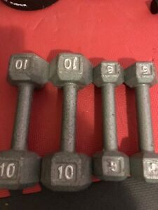10 and 5lbs dumbbells