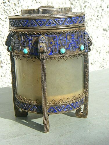 ANTIQUE CHINESE SILVER GILT ENAMEL AND JADE TEA CADDY