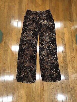 VINTAGE ROMEO GIGLI WINTER 97/98 SHEER PRINT CHIFFON VELVET DRESS PANTS 44
