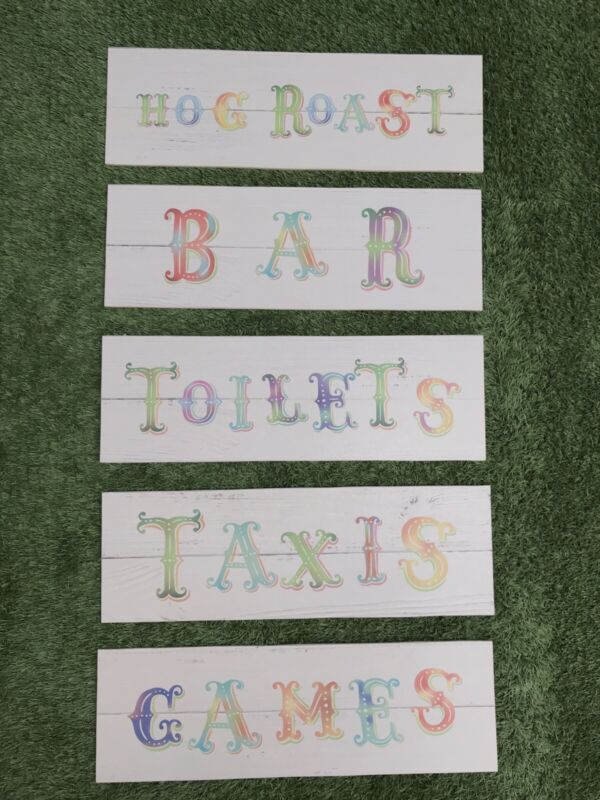 Job Lot Of 5x Circus Style Wedding Party Festival Event Signs REJECT SET 4