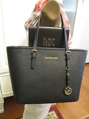 MK Michael Kors 2pc BLACK Leather Zip Travel Tote LG Florence Wallet $446 NWT