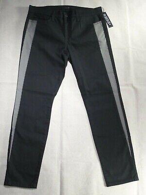 JOE'S JEANS tuxedo stripe black gray SKINNY ANKLE cast iron womens jeans SIZE 30
