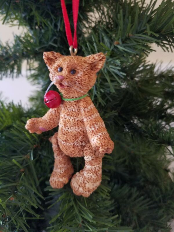 Kurt Adler Swinging Leg Yellow Tabby Cat with bell Ornament Vintage carved 4 in.