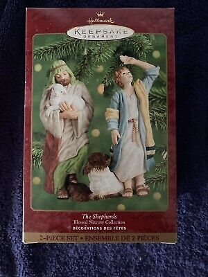 THE SHEPHERDS~BLESSED NATIVITY COLLECTION~2000 HALLMARK PORCELAIN ORNAMENT SET