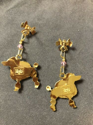 Lunch At The Ritz White POODLE SNACKS Pierced Earrings NEW FABULOUS  - $75.00