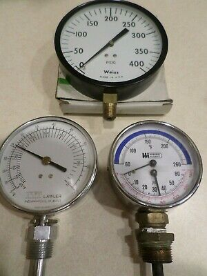 Vintage Steampunk Utility Gauges Lot Of Three Thermometers Psi
