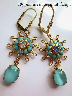 Edwardian earrings turquoise vintage drop Art Nouveau Art Deco dainty