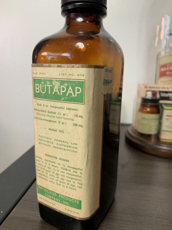 Butabarbital Vintage Pint Bottle AMAZING! Butapap Butisol