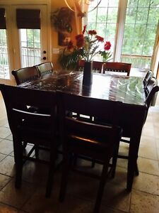 "Raised Bar Dining Set ""Table & 8 Leather Chairs"""