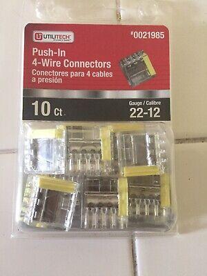 Utilitech 0021985 10 Pcs 4 Port Quick Push In Wire Connectors 22-12 Gauge