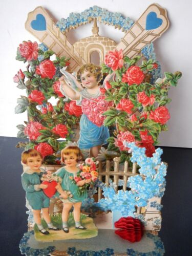 """Large fold out valentine; children & flowers; 5 layers; Made in Germany; 8 1/8"""""""
