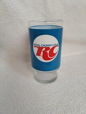 "*Vintage RC Royal Crown Cola Drinking Glass Soda Pop Decor Blue 5-3/8"" Tall"