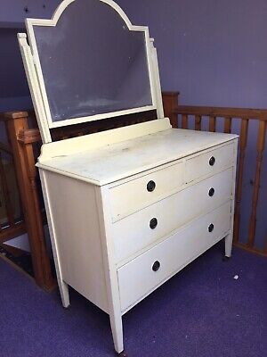 Vintage Bedroom Dresser With Mirror Dovetail Drawers Shabby Chic Rustic Up Cycle