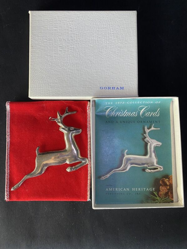 Gorham Sterling Silver The 1973 Collector's Christmas Reindeer Ornaments