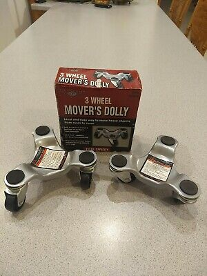 3 Wheel Movers Dolly Load Cap.132 Lbs Set Of 2 - New