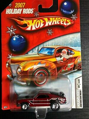 2007 Hot Wheels Holiday Rods - Ford Mustang Mach 1 Red  Real Riders  Free Ship