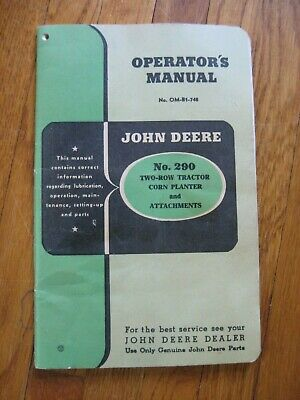 John Deere 290 Corn Planter Operators Manual Parts List Original