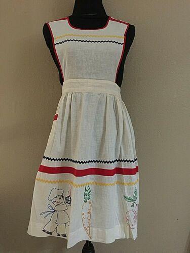 Vintage Apron Embroidery Ric Rack Trim