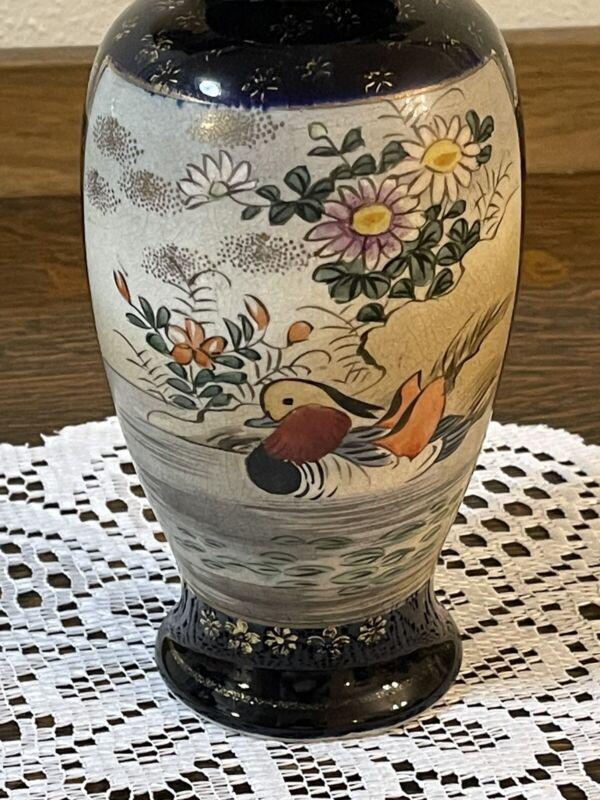 Vintage Cobalt Blue Oriental Vase Hand Painted Porcelain Cobalt Blue