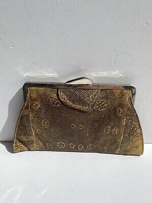 1940s Handbags and Purses History Art Deco 40s 50s Vtg Reptile Lizard Deco Clutch Bag Silver Clasp Small Purse $140.32 AT vintagedancer.com