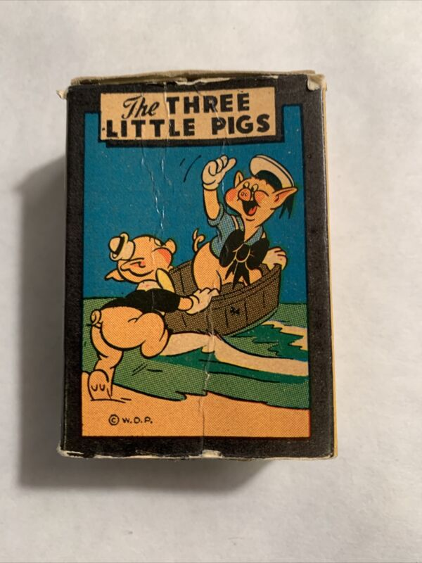Three Little Pigs Cards Miniature Game Walt Disney Russell Mfg Leicester MA 1956