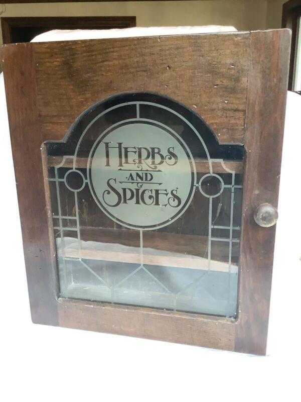 Vintage Herbs & Spice Wooden Glass Wall Cabinet Door Knob Shelves