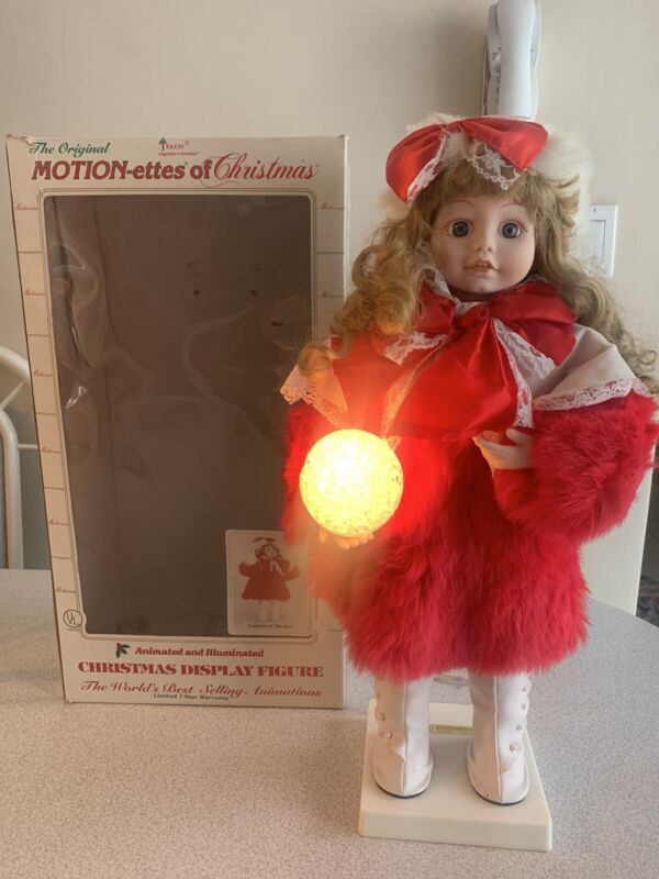 Rare Vintage Telco Motionettes Animated Baby Girl W/Snowball And Red Jacket
