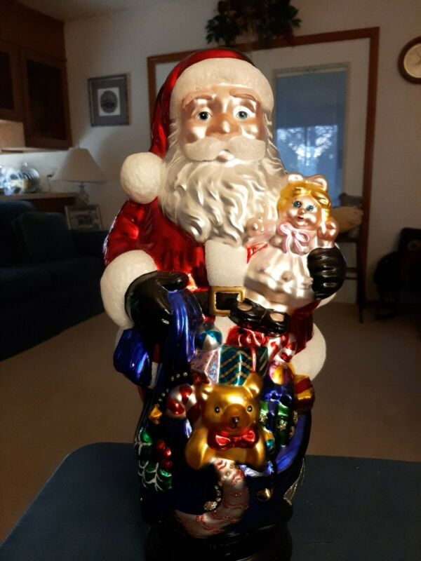 "Vintage 19"" Traditions Handpainted Hand Blown Glass Santa Clause NIB"