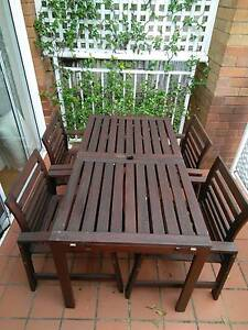 IKEA ÄPPLARÖ Table + 4 chairs w armrests, outdoor, brown stained Woollahra Eastern Suburbs Preview