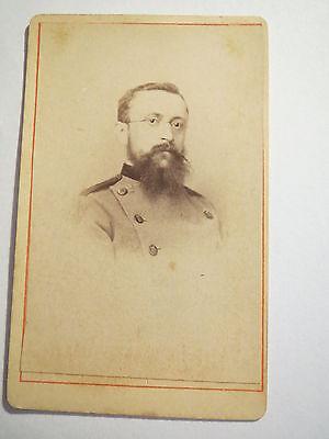Saarbrücken - wohl Förster ? in Uniform mit Bart & Brille - ca. 1870er ? / CDV