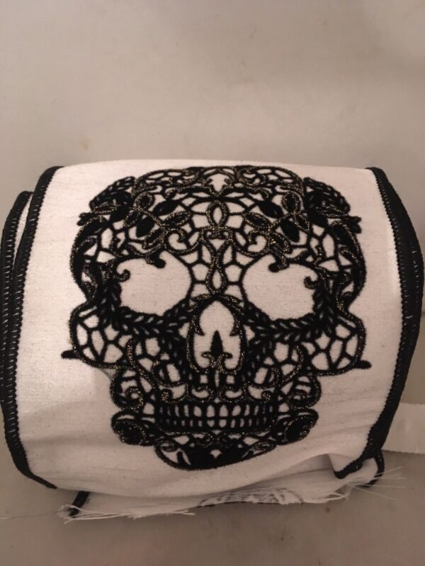 KATHERINE 'S COLLECTION HALLOWEEN SKULL RIBBON ROLL-NWT