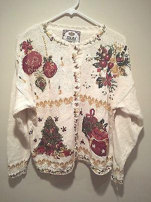 Vintage Ugly Christmas Sweater Tacky - Large White Tiara Xmas Tree & Ornaments !
