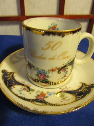 50TH ANNIVERSARY IN SPANISH ESPRESSO CUP AND SAUCER GOLD RIMMED
