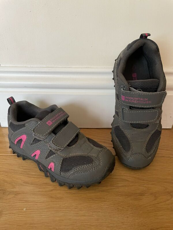 MOUNTAIN WAREHOUSE Girls Saturn Outdoor Walking Shoes Grey & Pink Size UK 12