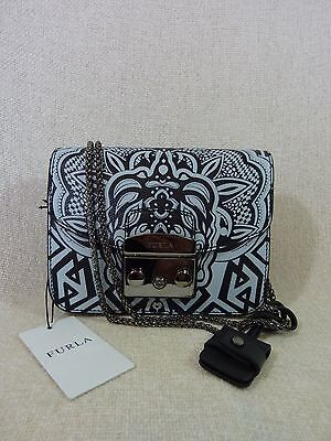NWT FURLA Black/Light Gray Printed Leather Mini Metropolis Cross Body Bag $428