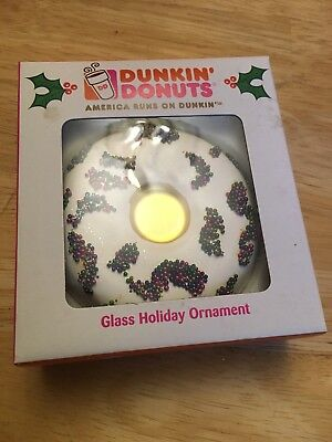 DUNKIN DONUTS - Glass Holiday Ornament (2007) Vanilla Frosted Sprinkles - Dunkin Donuts Ornaments