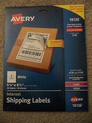 20 Avery Internet Shipping Labels White Laser Inkjet Printers 18126 5126 5 X 8