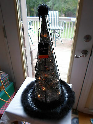 Halloween Light Up Electric Black Metal Witch Hat Fur Glitter Spider on Web Tag