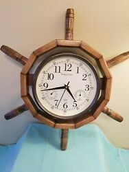 Nautical Ship Wheel Wall Clock 18 in Wooden Frame, Sterling & Noble Clock Co.