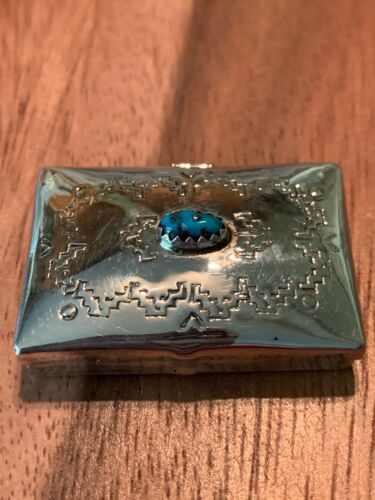 STERLING SILVER ~ TURQUOISE PILL BOX